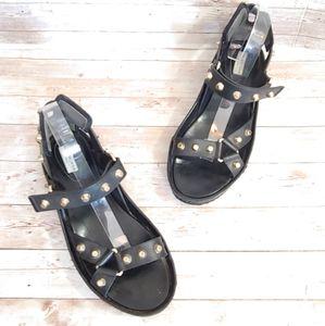 Balenciaga black leather studded sandals